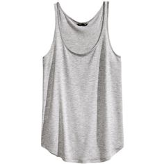 H&M Jersey top ($2.64) ❤ liked on Polyvore featuring tops, tank tops, shirts, tanks, grey, gray tank top, gray tank, grey top, jersey top and curved hem shirt