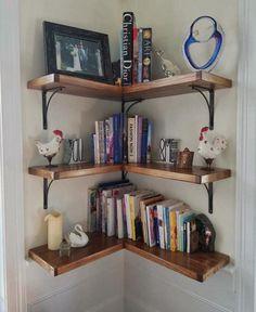 90 Amazing DIY Bookshelf Design To Complement Your Home Decoration 35 Bookshelves In Bedroom, Corner Bookshelves, Room Shelves, Corner Shelves Living Room, Corner Shelving, Corner Storage, Shelves For Books, Bookshelves For Small Spaces, Shelf Wall