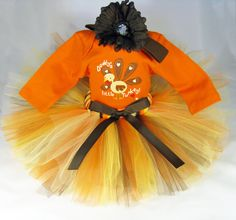 "Babys First Thanksgiving Outfit "" Daddy's Little Turkey "" Girls Tutu Set - Fall Colors Tutu Bodysuit and Headband Set - Size 0-3 Months on Etsy, $38.00"