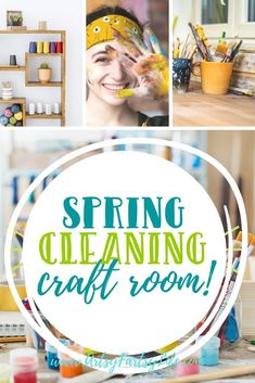 Tips and ideas for how to get your craft room or artist studio organized and clean. How to organize your craft room and craft supplies! Easy and effective ways to keep your craft room clean. studio organization Spring Cleaning Your Craft Room Sewing Room Organization, Studio Organization, Craft Room Storage, Organizing, Storage Ideas, Laundry Solutions, Small Craft Rooms, Budget Crafts, Cricut Craft Room