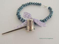 Sewing theme bracelet by DailyArtbyAngelina on Etsy