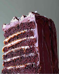Salgado-Caramel seis camadas bolo de chocolate