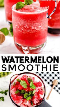 Watermelon Smoothie Recipes, Breakfast Smoothie Recipes, Easy Smoothie Recipes, Easy Smoothies, Smoothie Drinks, Smoothie Diet, Juice Recipes, Milk Smoothies, Recipes