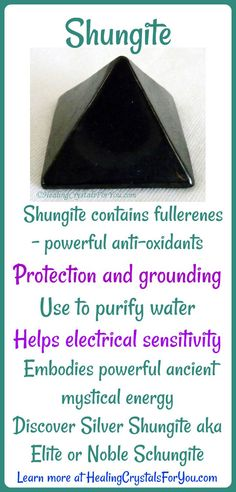 Shungite embodies powerful ancient mystical energy. Shungite contains fullerenes - powerful anti-oxidants Use to purify water Pretection and grounding Helps electrical sensitivity Discover Silver Shungite aka Elite or Noble Schungite