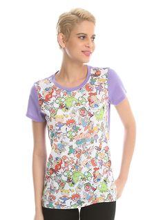 Nickelodeon Retro Characters Sublimation Girls T-Shirt, WHITE