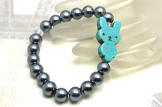 bracelet for kids!  pearls and turquoise bunny