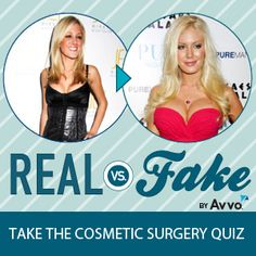 Get your cosmetic surgery IQ score, learn more about the top 10 procedures plus see photos of celebs and real people.