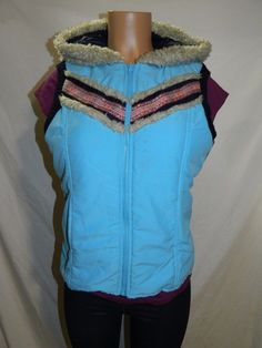 Free People Womens Size L  Hooded Zip Up Vest   INV#0321 #FreePeople