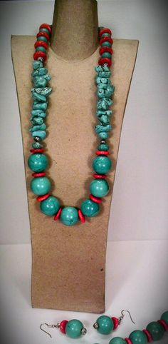 Turquoise Necklace Bracelet & Earring Set by CocoEssentials, $54.00