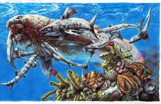 This was another piece for Australian publisher Weldon Owen. It features the giant armoured fish, Dunkleosteus, after making a kill. It is being mobbed . Prehistoric Wildlife, Prehistoric World, Prehistoric Creatures, Dinosaur Art, Dinosaur Fossils, Weird Creatures, Sea Creatures, Amphibians, Mammals