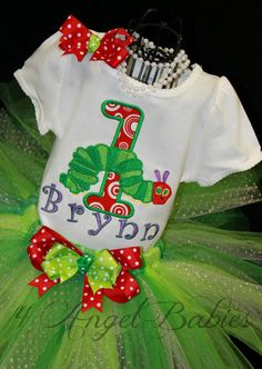 3 Piece The Very HUNGRY CATERPILLAR Applique Girls First Birthday Glitter Tutu Outfit with Top, Headband, and Tutu on Etsy, $54.50