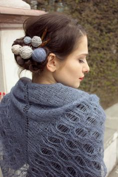 Nice hair pins:)  silk shawl / triangle shawl / russian shawl by BonniesCinematheque, €70.00