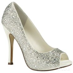 Sliver and white heel