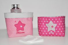 2 Paniers corbeilles panières pochons de rangement rose étoile fuchsia brodée pour bébé,vide-poche : Puériculture par lbm-creation