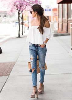 "justthedesign: "" Floaty off the shoulder tops are a must have this spring! Christine Andrew is looking elegant and mature in this wonderful piece from ILY couture, which she has paired with distressed denim jeans to get that edge you..."