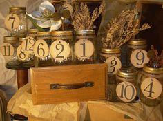 12 Wedding Mason Jar Numbers Rustic Wedding by ShopForAllOccasions, $62.00