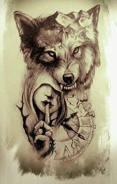 I incredibly fancy the colours, lines, and linework. This is certainly a fantastic concept if you would like a Dream Tattoos, Wolf Tattoos, Ankle Tattoos, Wolf Tattoo Sleeve, Sleeve Tattoos, Tattoo Drawings, Body Art Tattoos, Tattoo Caligraphy, Tattoo Planets