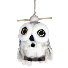 This hand felted wool birdhouse is made of sustainably harvested, naturally water repellent wool. Wool is also naturally dirt and mold resistant.Felt Birdhouse Snowy Owl by Custom Made. Felt Owls, Felt Birds, Snowy Owl, Small Birds, Colorful Birds, Finger Puppets, Wool Felt, Felted Wool, Handmade Design