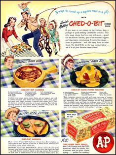 3 ways to round up a square meal in a jiffy, Ched-O-Bit Cheese Food, Woman's Day 07/01/1946