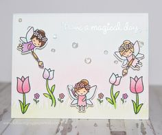 Lawn Fawn Fairy Friends; paintbrushes from: Lawn Fawn Chirpy Chirp; pastel; trio; soft; adorable; DIB; magical day; birthday