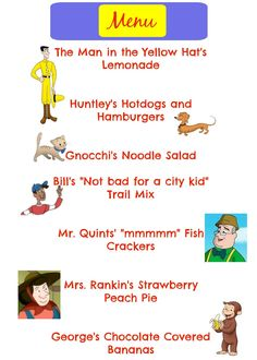 Curious George Menu
