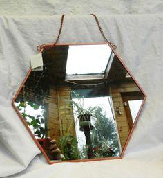 29f5240b90 Copper Framed Hexagonal Shape Wall Mirror - Large - Art Deco Style - BNWT