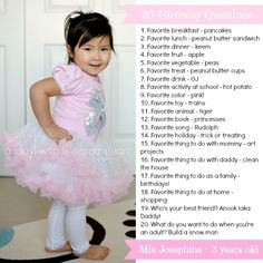 20 Question to ask your child every year on his/her birthday. Great keepsake.