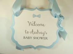 Bow-Tie Baby Boy Theme Shower Welcome Sign for by inkpartyemporium