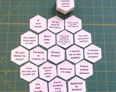 I got the idea to put sayings on my templates while sewing hexies on my daily train commute. I thought it would be nice to have some inspirational, motivational or fun sayings on them that I could read as I was basting the fabric to the template. IT MAKES IT SEW FUN!!! Many of my instagram followers asked if I could sell them, so I said Why not?  SEE MY OTHER LISTINGS FOR MORE FABULOUS FUNNY SAYINGS!!!  These hexagon templates are tool punched or die cut for accuracy and have 1 inch sides…