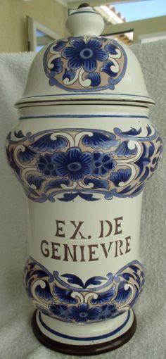 """POT PHARMACIE : EX DE GENIEVRE """"ST CLEMENT - P.D. """" - ETAT PARFAIT - Ht : 31 cm"""