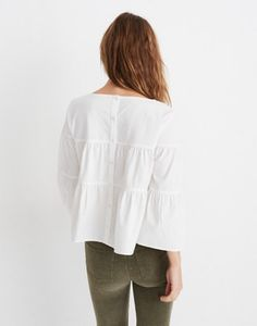c7ae9e548f269f XS Tiered Button-Back Top in Pure White in pure white image 3 White Image.  madewell.com