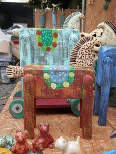 Koník - keramika+dřevo
