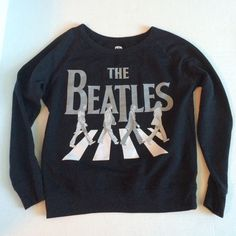 SALEBeatles Abbey Road lightweight sweatshirt Beatles Abbey Road Black and gray lightweight sweatshirt top  Pre-owned, great condition, no holes or stains. This is a size small. Made of 60% cotton, 40% polyester.  Measurements: underarm to underarm flat across is approximately 19 1/2 inches. Back of neck to bottom of hem is approximately 21 inches. Tops Sweatshirts & Hoodies