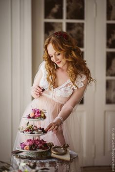 Будуарное платье - бледно-розовый, нежно-розовый, светло-розовый, белый, еврофатин, фатин