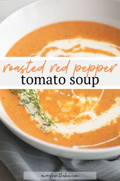 This creamy tomato soup bursting with flavorful herbs and roasted red peppers is made from scratch with fresh ingredients. It makes a fantastic hearty main dish or first course in a dinner party. Healthy Soup Recipes, Crockpot Recipes, Real Food Recipes, Cooking Recipes, Vegetable Recipes, Keto Recipes, Winter Dinner Recipes, Slow Cooker Soup, Homemade Soup
