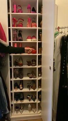 Stylish 47 Popular Shoe Rack Design Ideas To Try This Season Closet Shoe Storage, Diy Shoe Rack, Shoe Closet, Closet Organization, Diy Walk In Closet, Narrow Closet, Bedroom Closet Design, Home Room Design, Wardrobe Design