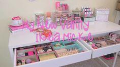 My New Vanity ~ Ikea Micke Desk & Mini Vanity Tour ~ Makeup Storage Ikea Micke, Micke Desk, Ikea Vanity, Vanity Tray, Makeup Storage, Makeup Organization, Welcome To My House, Glam Room, Queen