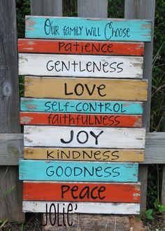 Our Family will Choose....fruits of the spirit distressed handpainted wooden sign