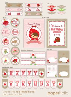 Sweet Little Red Riding Hood - Essentials Party Décor Suite - Printable Supplies by Paperholic