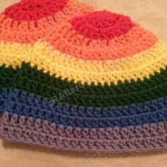 Rainbow Gay Pride Striped Beanie Hat Crochet Pattern for Teen/ Womens / Men sizes ~ free pattern