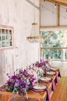 Rustic Elegance Wedding Inspiration, purple wedding centerpieces for a country wedding Purple Wedding Tables, Rustic Purple Wedding, Purple Wedding Centerpieces, Long Table Wedding, Purple Table, Wedding Reception Tables, Wedding Table Settings, Wedding Decorations, Wedding Receptions