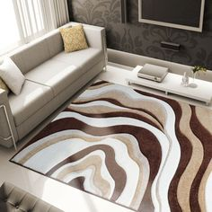 brown modern abstract area rug hand carved swirls curves carpet