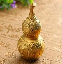 Chinese Good Luck Wu Lou//Hu Lu Gourd//Cucurbit for Wealth Peaceful Copper Statue Collectible Figure Sculpture Charm Amulet