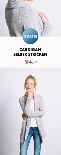 Cardigan mit Perlmuster-Blende selber stricken - Gratis-Strickanleitung via Makerist.de