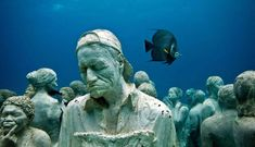 Underwater sculpture garden - Silent Evolution - created by renowned sculptor Jason de Caires Taylor, Cancun, Isla Mujeres. S) ( between Cancun and Isla Mujeres in the Mexican state of Quintana Roo) Underwater Sculpture, Underwater Art, Underwater Photography, Sculpture Art, Sculpture Museum, Sculpture Garden, Underwater House, Human Sculpture, Photography Tips