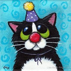 Cat Art by Lisa Marie Robertson I Love Cats, Cute Cats, Cross Stitch Games, Cat Quilt, Here Kitty Kitty, Lisa Marie, Cat Drawing, Birthday Greetings, Birthday Wishes