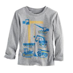 Toddler Boy Jumping Beans® Construction Graphic Long-Sleeve Tee, Size: 4T, Med Grey