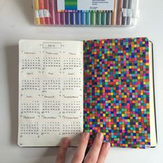 // Two of the most colourful pages in my journal // Planner Bullet Journal, Bullet Journal Ideas Pages, Bullet Journal Inspiration, Journal Pages, Journals, Graph Paper Drawings, Graph Paper Art, Dibujos Zentangle Art, Kunstjournal Inspiration