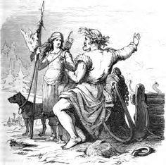 Skadi est une géante, fille de Thjazi et épouse de Njörd, une union obtenue en compensation de la mort de son père. L'illustrateur allemand Friedrich Wilhelm Heine a représenté les époux en route pour Noatun, la résidence du dieu de la mer. Skadi apparaît armée d'un arc, l'un de ses attributs. Pour en savoir plus: http://www.fafnir.fr/skadi.html.