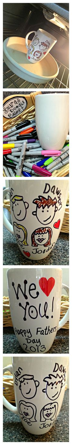 This is SO fun and so easy and such a GREAT reason to get out your collection of Sharpie doodling markers! Use Sharpie permanent markers to doodle up a ceramic mug (or plate or bowl or whatever) an…